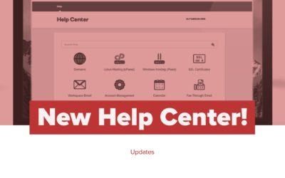 New Help Center!